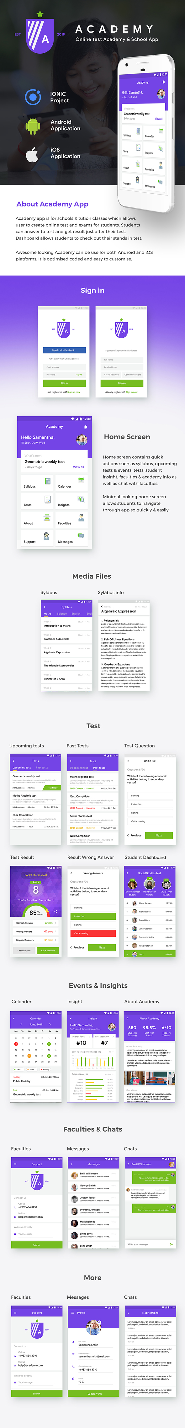 Online Test for School & Academy Template (HMTL + Css) IONIC 4 | Academy - 2