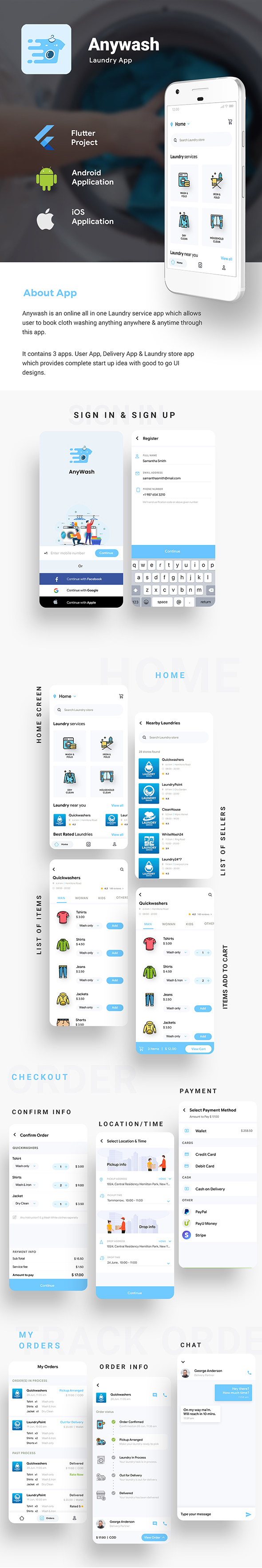 Multi Vendor Laundry Booking & Delivery App| Android + iOS App Template | 3 Apps | FLUTTER | Anywash - 3