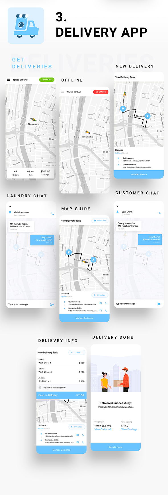 Multi Vendor Laundry Booking & Delivery App| Android + iOS App Template | 3 Apps | FLUTTER | Anywash - 7