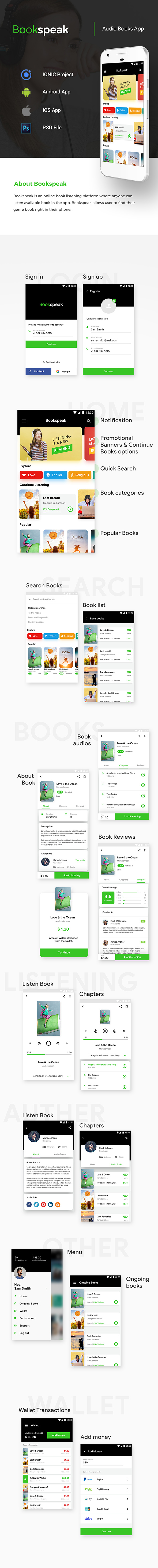 Audio Book Android App + Audio Book iOS App Template | Bookspeak (HTML+CSS files IONIC 3) - 2