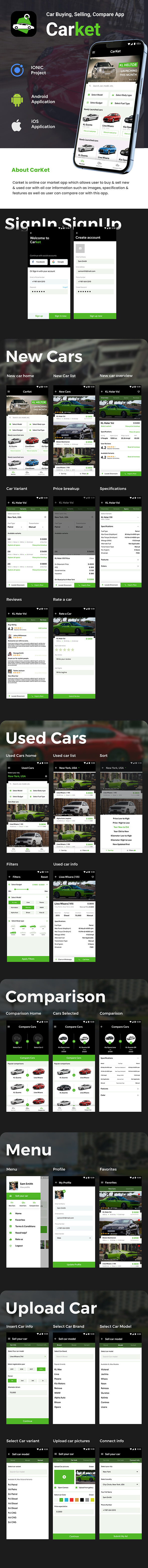 Car Buying, Selling & comparison Android + iOS App Template | HTML + Css IONIC 3 | CarKet - 2