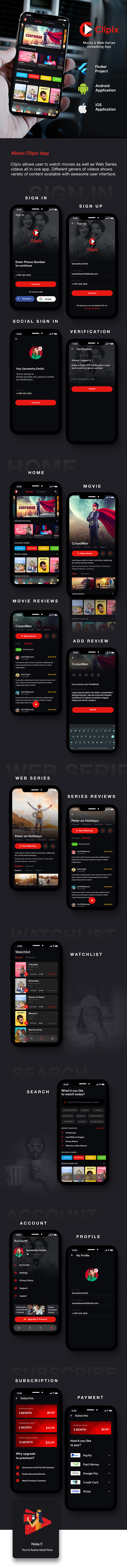 Movie Series Video Streaming Android App Template+ Video Streaming iOS App Template| Flutter| Clipix - 1
