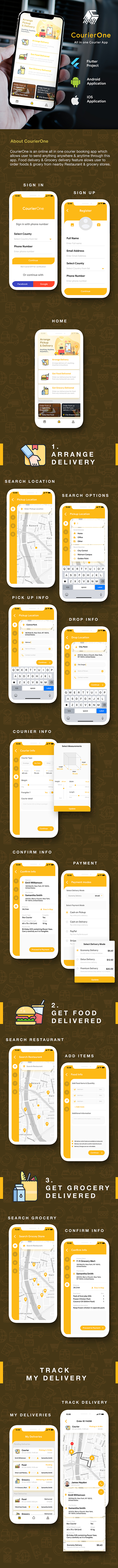 Modern Courier Delivery Flutter App Template| User App + Delivery App | Courierone - 3