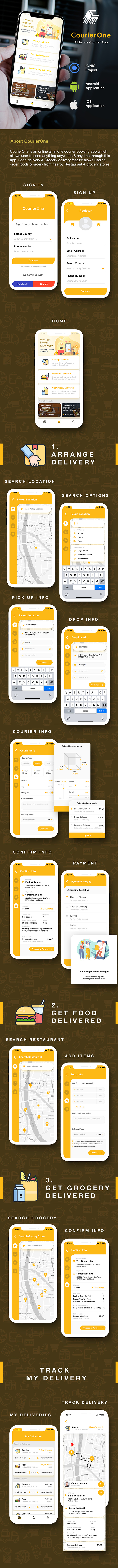 Courier Delivery Android App Template + Custom Courier iOS App Template |2 Apps| IONIC 5 CourierOne Download