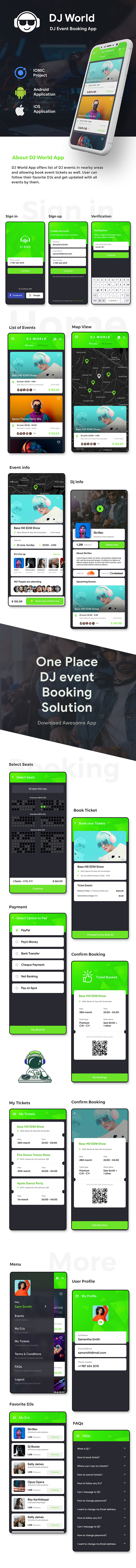 DJ events Booking Android + iOS App Template | HTML + Css IONIC 3 | DJWorld - 2