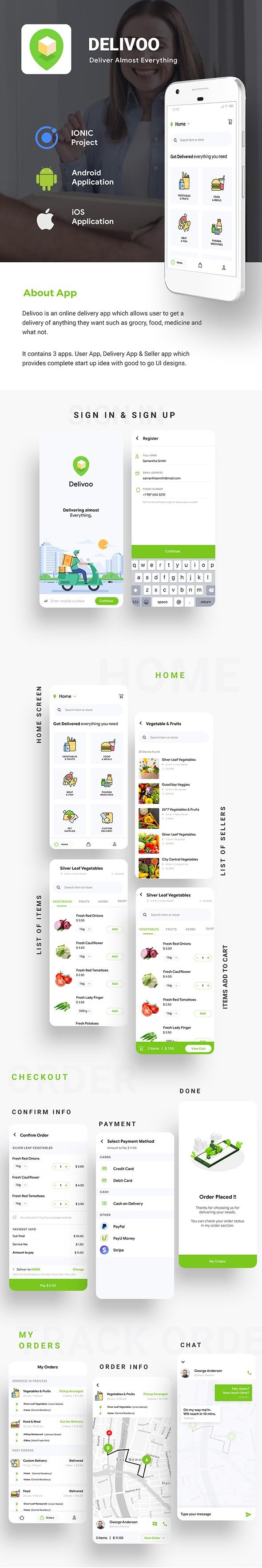 Modèle d'application de livraison de commerce électronique Android + iOS |  3 applications utilisateur + fournisseur + livraison |  IONIC 5 |  Delivoo - 5