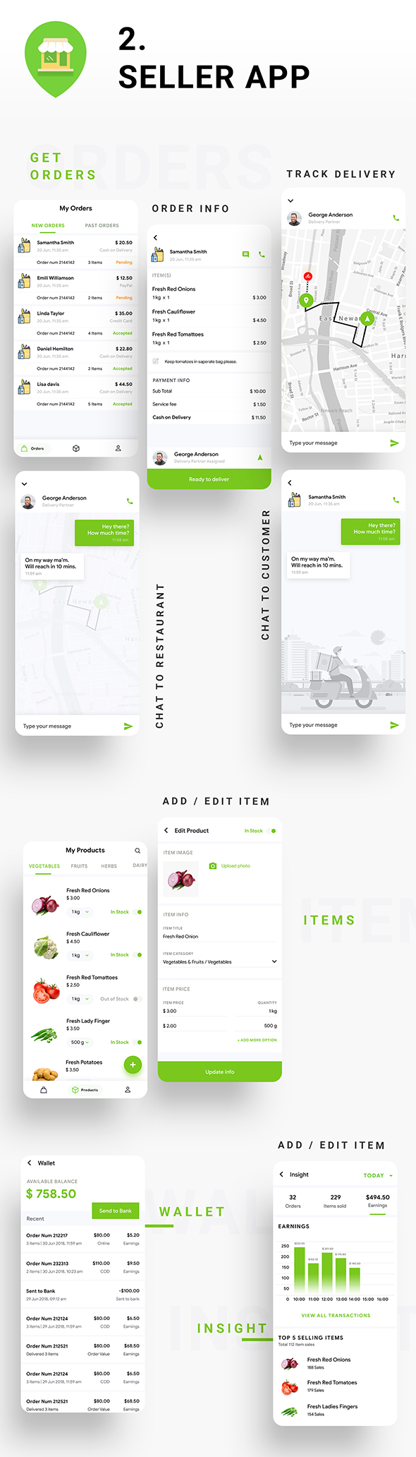 Modèle d'application de livraison de commerce électronique Android + iOS |  3 applications utilisateur + fournisseur + livraison |  IONIC 5 |  Delivoo - 7