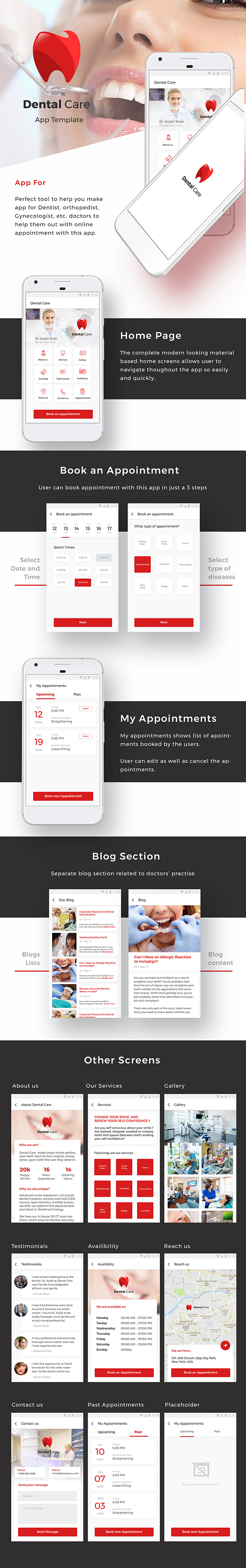 Dentist and other Doctors Appointment booking Android and iOS App Template | IONIC 3 - 2