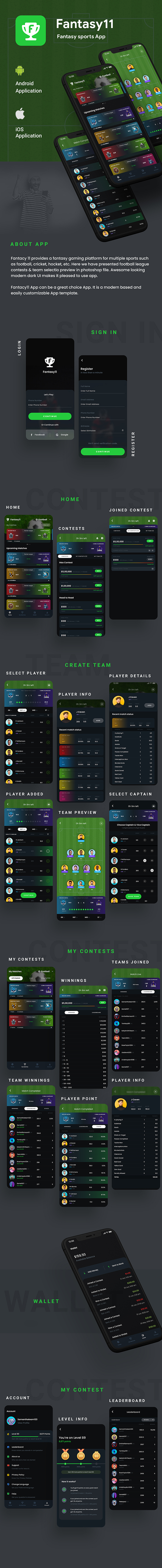 Fantasy League Contest Sports Android App Template+ iOS App Template | Flutter 2 | Fantasy 11 - 3