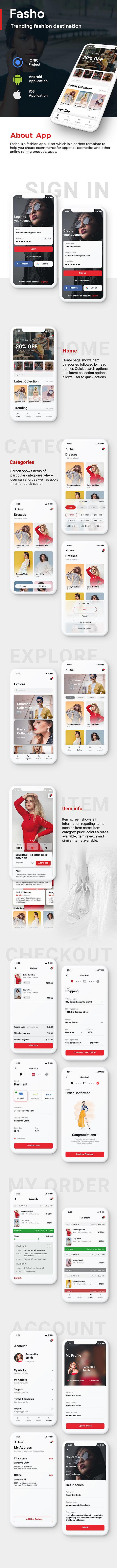 Fashion Ecommerce Android App + iOS App Template | Fasho (HTML+CSS files IONIC 3) - 2