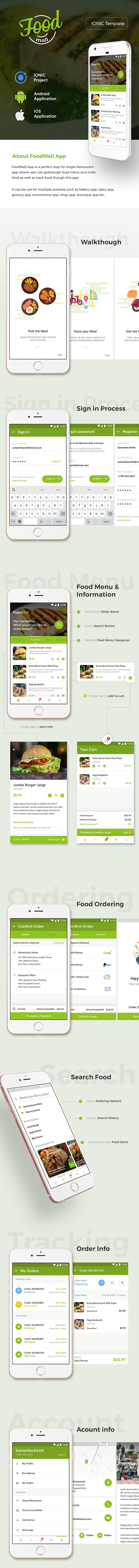 Food Ordering Restaurant Android + iOS App Template (HTML + CSS files in IONIC 3) | Foodmall - 2