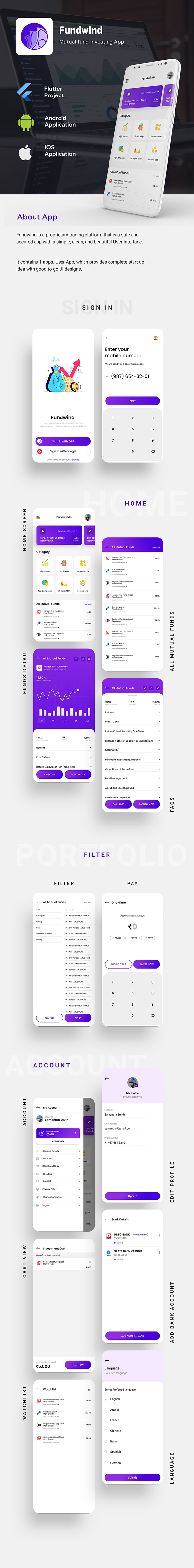 Mutual Fund Investment Template | trading Android + iOS Template | FLUTTER | Fundwind - 2