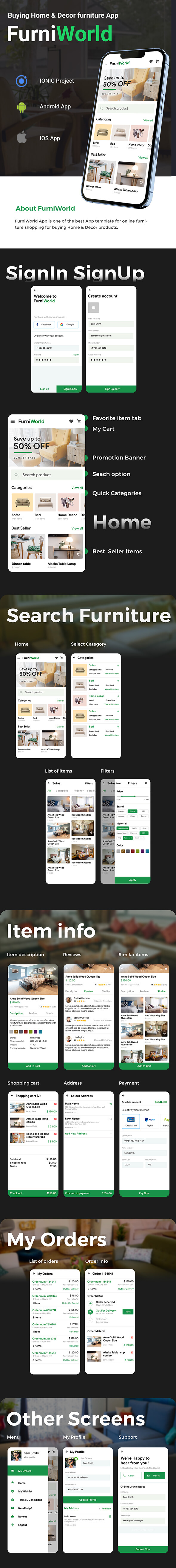 Furniture buying Android + iOS App Template | HTML + Css IONIC 3 | FurniWorld - 2