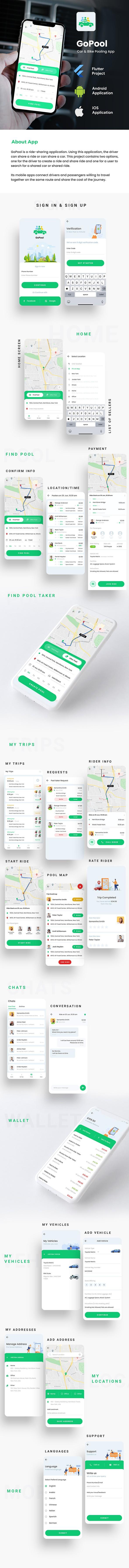 Car Pooling Bike Pooling Android App template + iOS App Template| Flutter | Gopool - 1