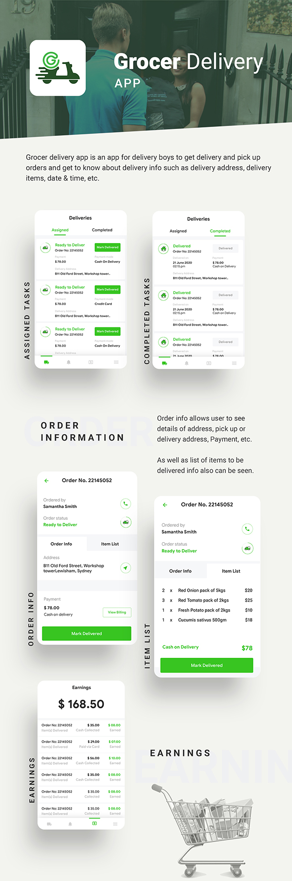 Grocery Android App + Grocery iOS App Template| 3 Apps (HTML + CSS) IONIC 5 | Grocer - 4