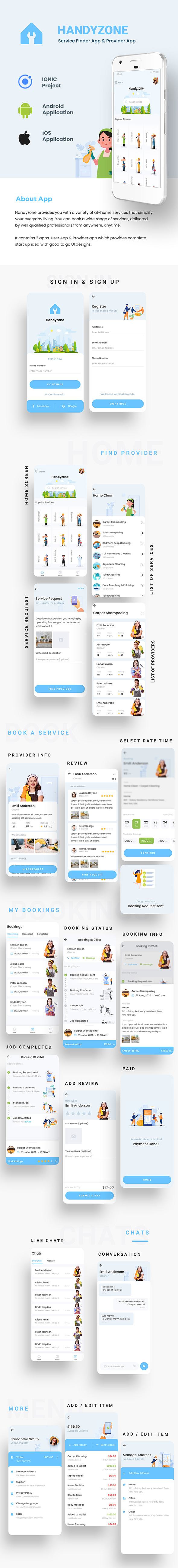 Home Service Finder| Provider| Booking Android + iOS App Template|2 Apps| HTML+CSS IONIC 5 Handyzone - 3