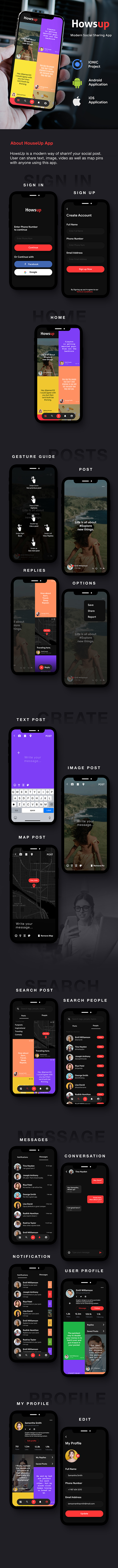 Howsup Social Android App + Social iOS App | Template (HTML + CSS in IONIC 5) - 3