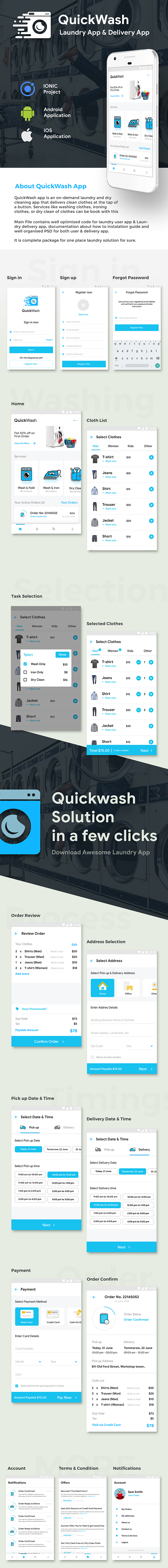 Laundry Android App + iOS App Template | Quickwash (HTML+CSS files IONIC 3) - 1