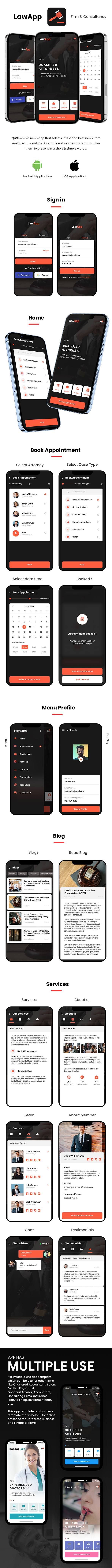 LAW App Multiple use App Android + iOS App Template | HTML + Css IONIC 3 | LawApp - 2