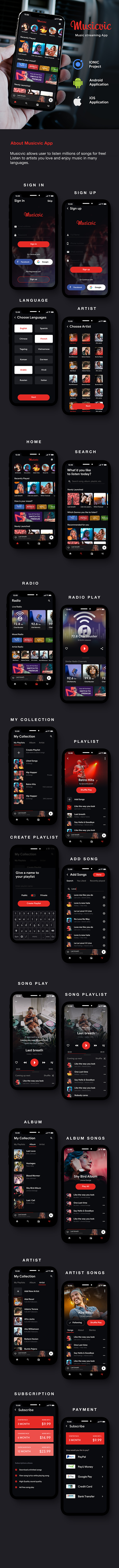 contemporary Music Streaming App Template | HMTL + Css IONIC 3 | Musicvic - 2