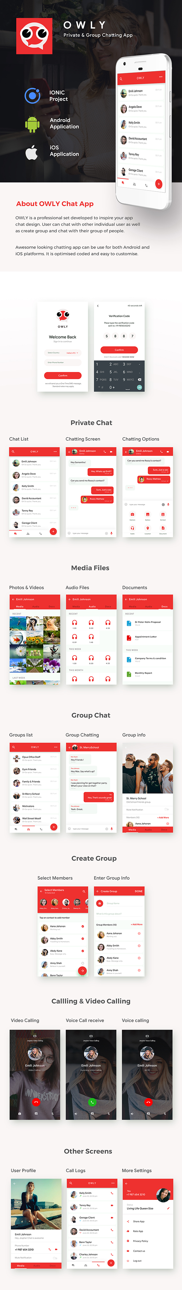 Chatting , Group Chatting & Video Chatting Android App Template | HMTL + Css IONIC 3 | OWLY - 2