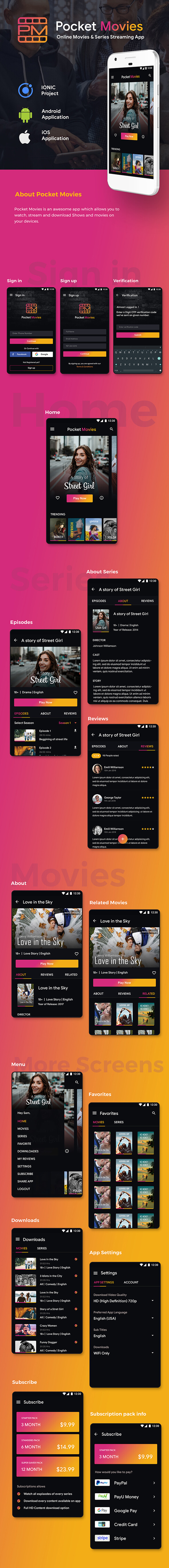 Online Video Streaming and Movies Android App + Movies iOS App Template| Online Series App | IONIC 5 Download