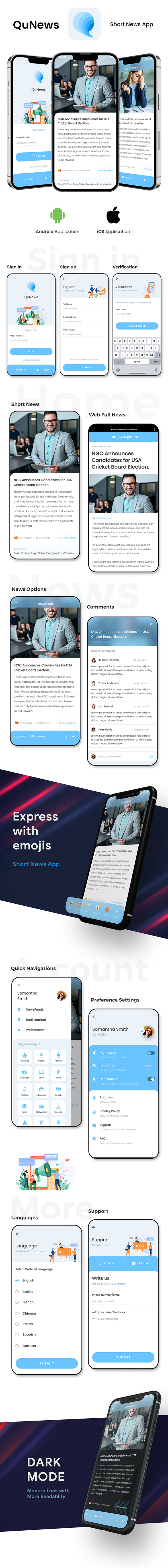 Short News Android App Template + iOS App Template | IONIC 5 | News App | QuNews - 2