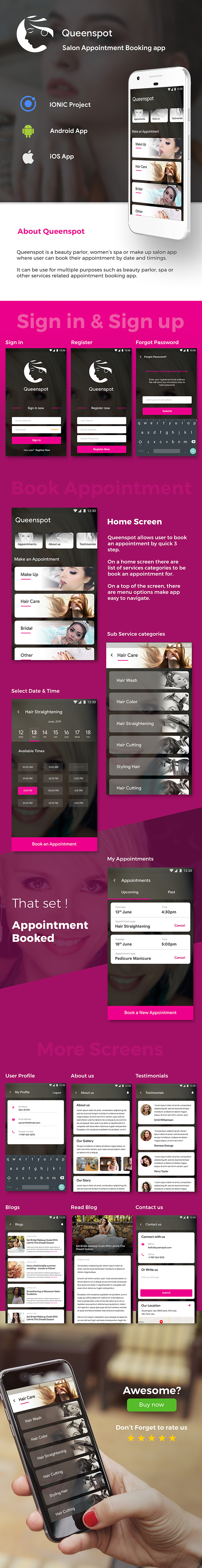 Salon Appointment Booking Android + iOS App Template | IONIC 3 | Queenspot - 2
