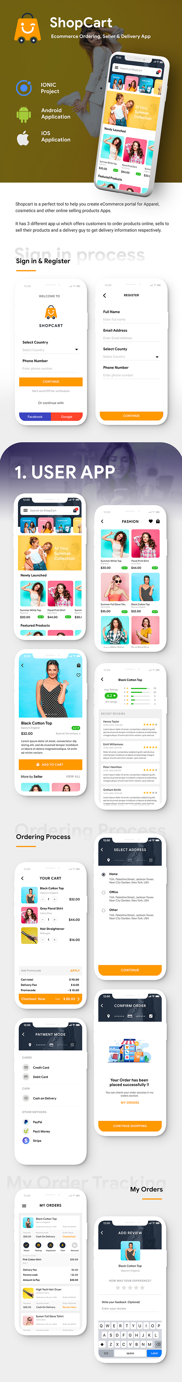 Modern Ecommerce Android App Template + Ecommerce iOS App Template (HTML + CSS) (IONIC 5) | ShopCart - 2