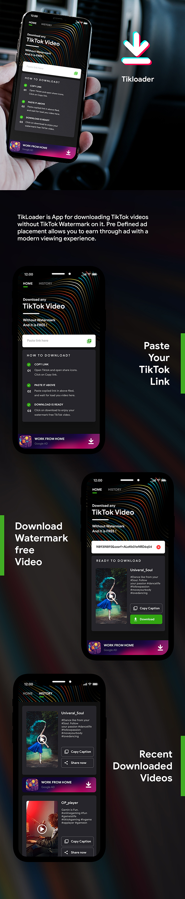 TikTok Video Downloader Android App without Watermark with admob | Tikloader | Complete App - 2