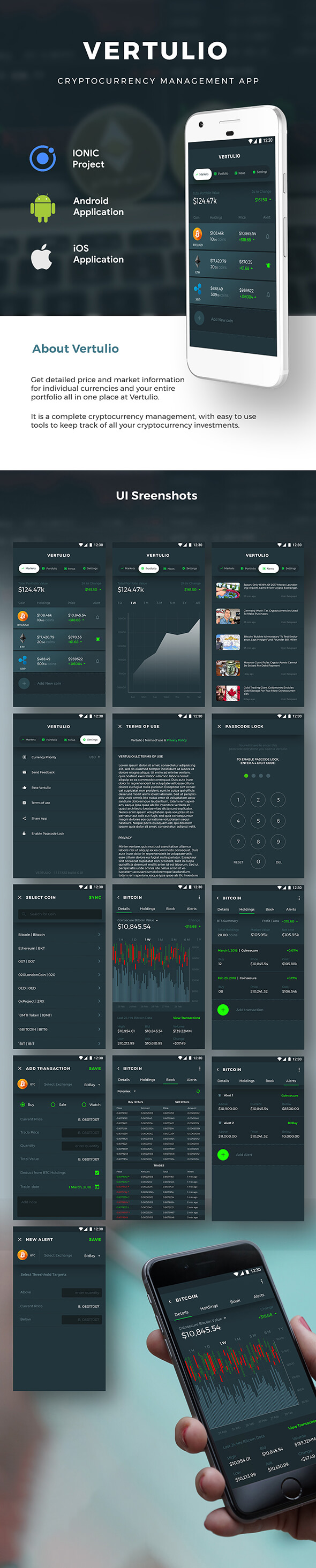 Cryptocurrency Management Android App Template+ iOS App Template| IONIC 5 | Vertulio - 2