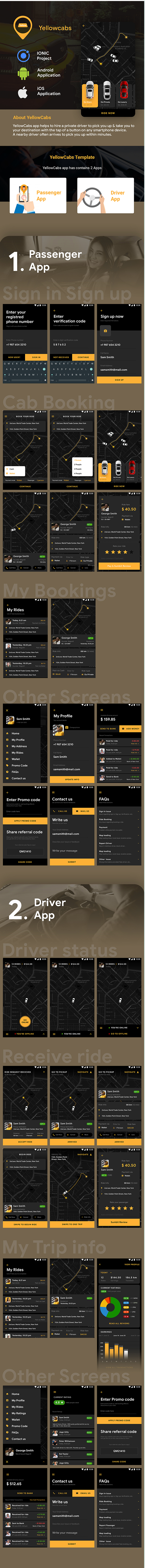 Cab Booking Android + iOS App Template |2 Apps| Rider App + Driver App |Taxi App| IONIC3 |YellowCabs - 1